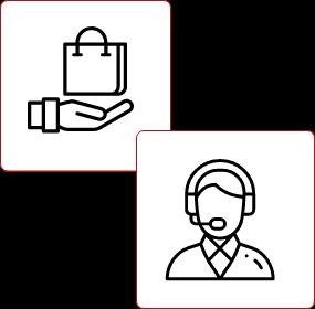 Dwie ikony osoby i zakupów